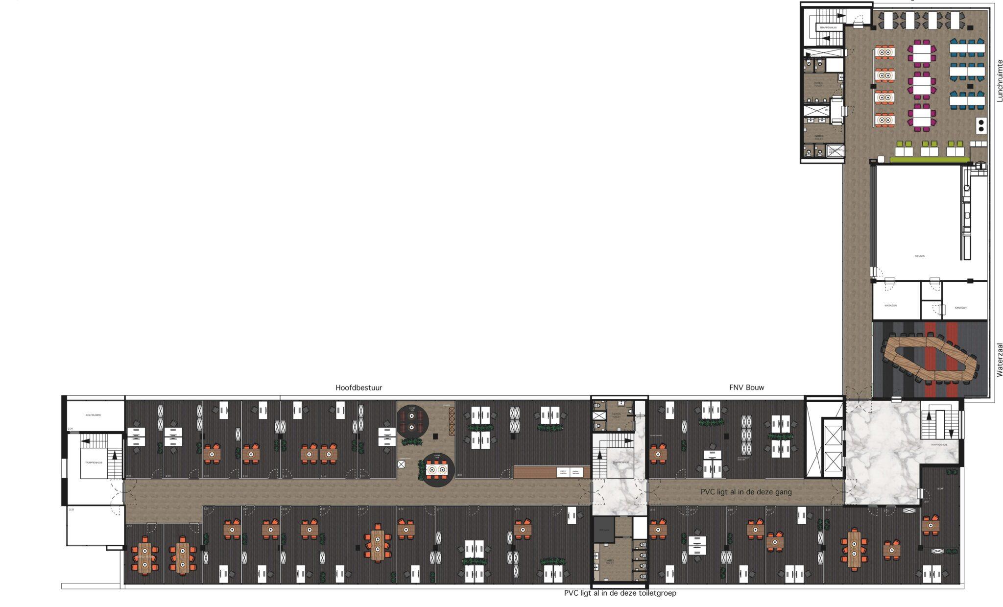 FNV ontwerp tekening Heering Office Den Haag