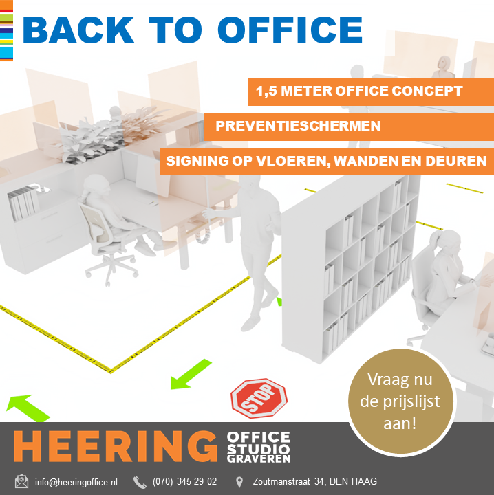 back to office concept coronaproof kantoor Heering Office Den Haag